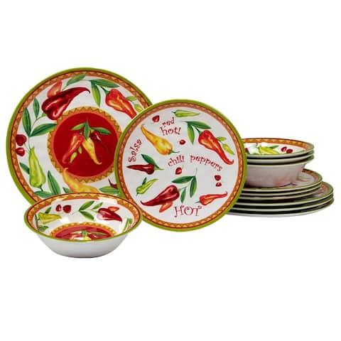Certified International Red Hot 12 Pieces Melamine Dinnerware Set