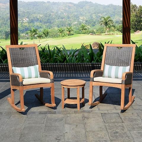 Cambridge Casual Palma 3-piece Teak Wicker Outdoor Rocking Chair Chat Set - FREE Lumbar Pillow