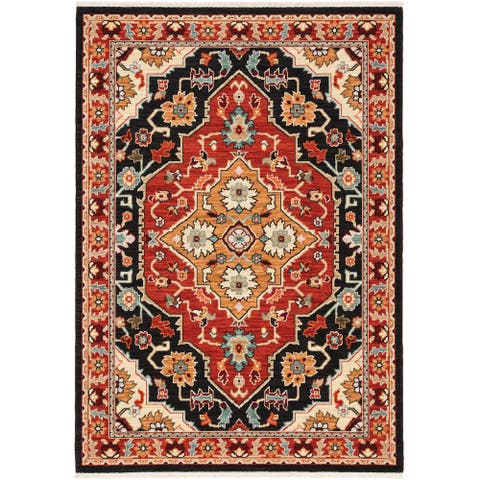 Leander Layered Medallions Fringed Wool Blend Area Rug