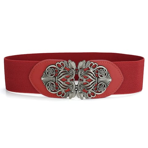 Elastic Waistband Simple Style Solid Color Stretchy Belt Cinch Belt - Red