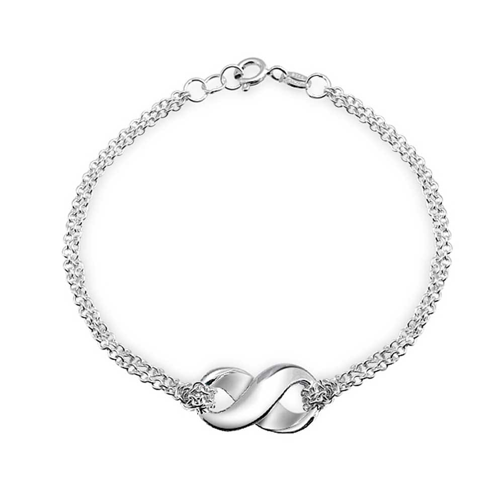 Beinlove 925 Sterling Silver Bracelet Infinity Double Circles Mother Daughter Sisters Friendship Simple Elegant Ankle Bracelet Anklet Gift for Women Girls