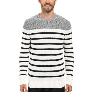 Nautica Striped Pattern Crewneck Sweater Marshmallow White and Navy X-Large