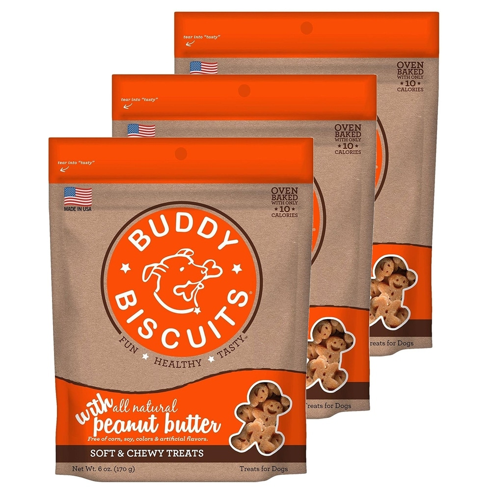 Cloud Star Buddy Biscuits 6 oz Soft & Chewy Dog Treats - Peanut Butter 3 Pack