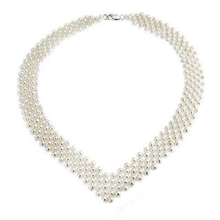 Bling Jewelry V Shaped Imitation Pearl Bridal Necklace 16 Inches Rhodium Plated - White