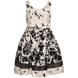 Bonnie Jean Little Girls Ivory Black Floral Print Sleeveless Dress