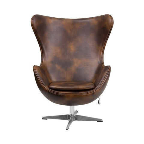 Offex Bomber Jacket Leather Egg Chair with Tilt-Lock Mechanism