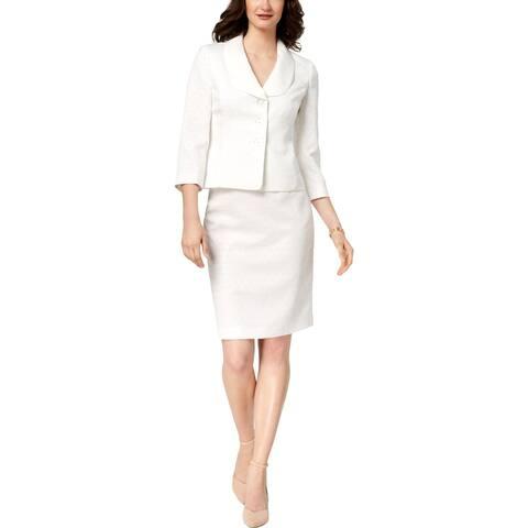 Le Suit Womens Three-Button Suit Jacquard Professional - 4