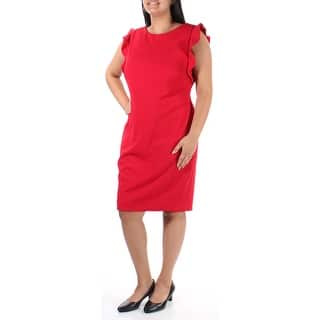 b71ce796cf5a Quick View.  26.39. CALVIN KLEIN Womens Red Ruffled Sleeveless Boat Neck  Above The Knee Shift Dress Size  12. New Arrival