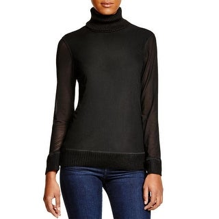 One A Womens Turtleneck Sweater Knit Mesh