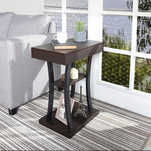 Furniture R Mid-Century Modern Wooden End Table with Shelves