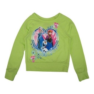 Disney Girls Lime Green Frozen Heart Print Long Sleeve Sweater 8-16