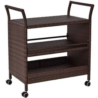 Gymax Rattan Rolling Serving Cart Shelves Rack Storage