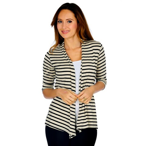 Simply Ravishing 3/4 Sleeve Stripe Open Drape Cardigan (Size: S-3X)