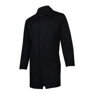 London Fog Men's Microfiber Wool Trim Raincoat (Black, 38R) - 38r
