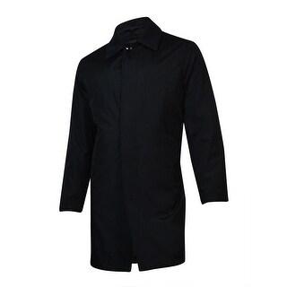 London Fog Men's Microfiber Wool Trim Raincoat (Black, 40S) - Black - 40 Short