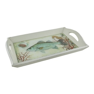 White Wood and Glass Under the Sea Decorative Serving Tray