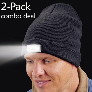 2-Pack: Men Women Warm Beanie with LED Flashlight