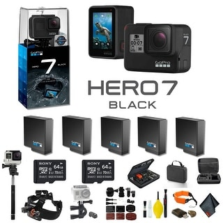 GoPro HERO7 Black Action Camera With 4 Extra Battery, External Charger, 2 64GB Memory Card, Case and More - 5 Battery Bundle