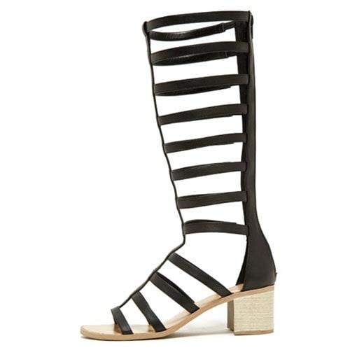 Qupid Women's Kirby-04X Gladiator Sandal With Heel - Black - 6.5 b(m) us