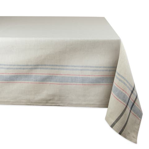 "Neutral Taupe and Gray French Striped Pattern Rectangular Tablecloth 60"" x 120"" - N/A"
