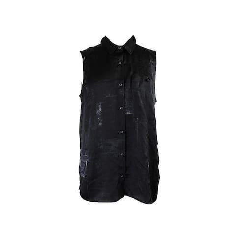 Calvin Klein Jeans Black Sleeveless Button-Down Shirt L