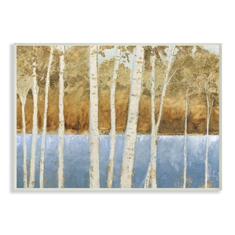 Stupell Industries Birch Tree Lake Landscape Blue Gold Nature Painting Wood Wall Art