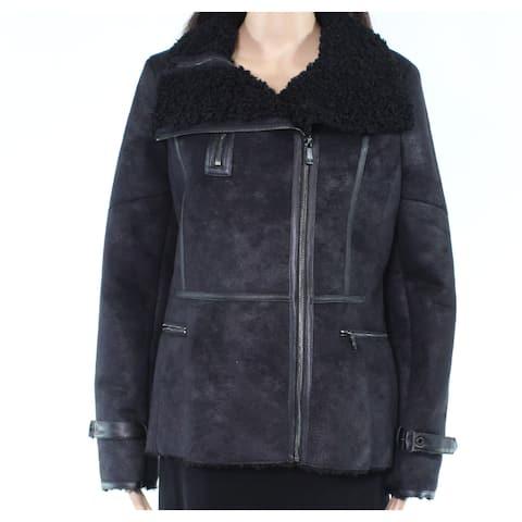 Calvin Klein Womens Jacket Black Size Large L Faux-Shearling Motorcycle