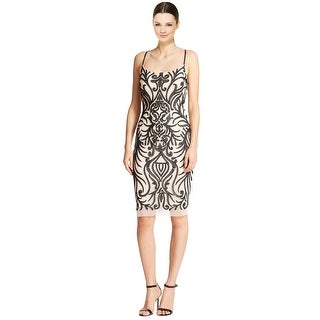 Badgley Mischka Beaded Embroidered Racerback Cocktail Evening Dress - 8