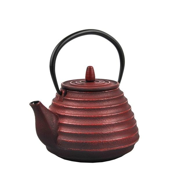 Spigo Sencha Cast Iron Enamel Infuser Teapot, Red, 33 Ounces