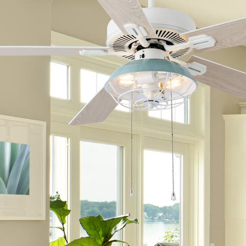 """Kinsley River of Goods White and Blue Metal 52in. 2-Light Ceiling Fan - 52"""" x 52"""" x 13.5""""/18.5"""""""