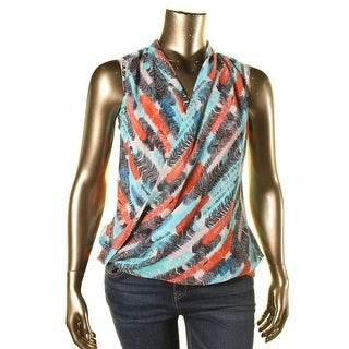 Kut From The Kloth Womens Draped Surplice Casual Top