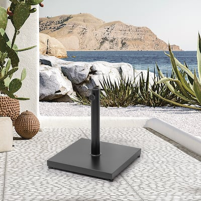 40 lb Patio Umbrella Base Stand Outdoor Square Steel Plate Stand Heavy Duty Market Umbrella Pole Holder - See the details