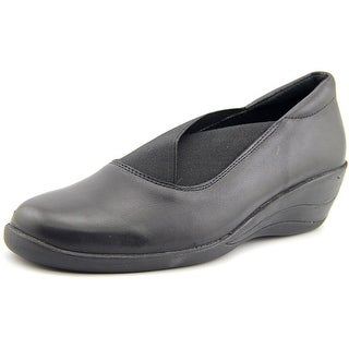 Spring Step College Women Round Toe Leather Black Loafer