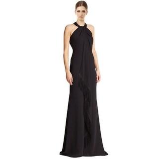 Carmen Marc Valvo Beaded Embellished Halter Fringe Evening Gown Dress - 4