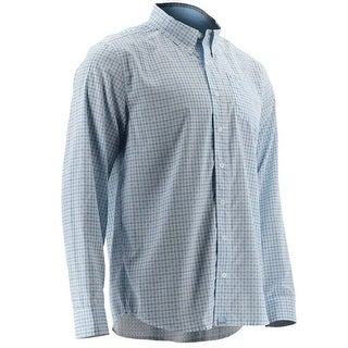 Huk Men's Santiago Ice Blue Medium Button Down Long Sleeve Shirt