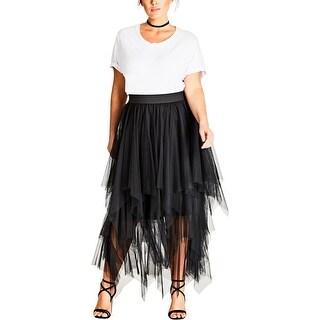 City Chic Womens Plus Tiered Skirt Layered Mid-Calf - 18