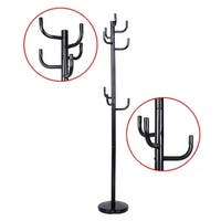 Costway Metal Coat Rack Hat Stand Tree Hanger Hall Umbrella Holder Hooks Black