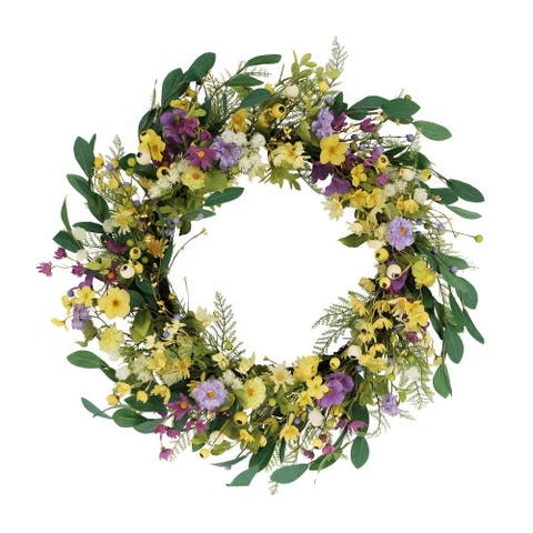 """30"""" Artificial Dogwood and Daisy and Poppy Floral Spring Wreath"""