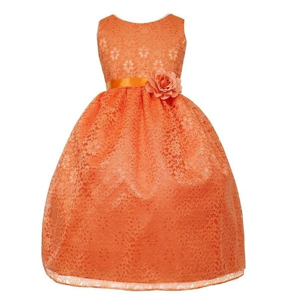 f742dd9f0050c Girls Orange Floral Lace Junior Bridesmaid Dress 8-12