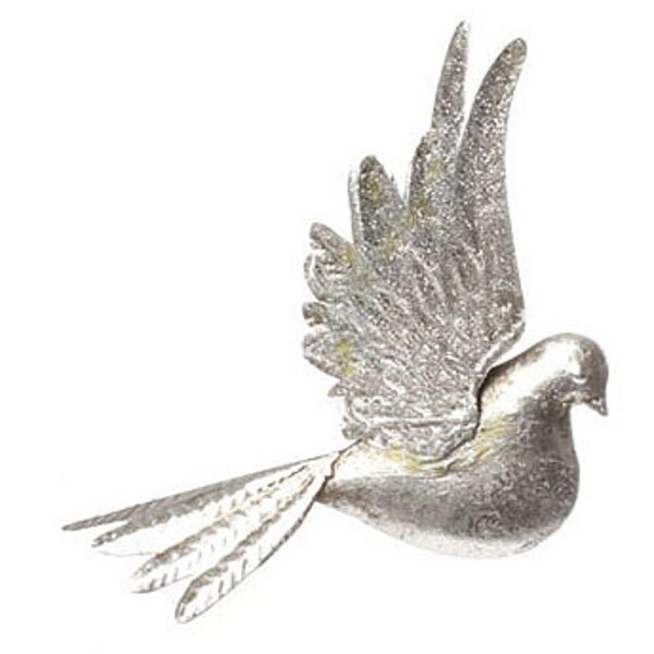 "9"" Silver Antique-Style Bird with Glittered Wings Christmas Ornament"