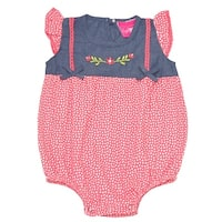 Baby Girls Orange Heart Print Floral Detail Snap Closure Bodysuit 6M