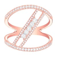 Prism Jewel 0.62Ct G-H/SI1 & I1 Natural Diamond Two-Row Open Ring