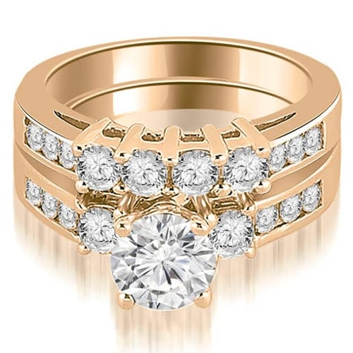 1.70 cttw. 14K Rose Gold Prong Set Round Cut Diamond Bridal Set