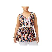 NY Collection Womens Plus Tank Top Floral Print Crochet Trim