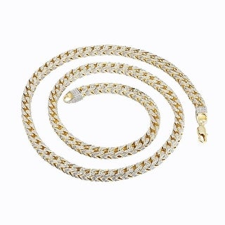 Franco Link Necklace 31 Inch Fully iced Out 14k Gold Tone 7mm Heavy 140+ Grams