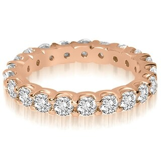 14K Rose Gold 1.40 ct.tw Round Cut Shared Prong Diamond Eternity Wedding Ring HI, SI1-2