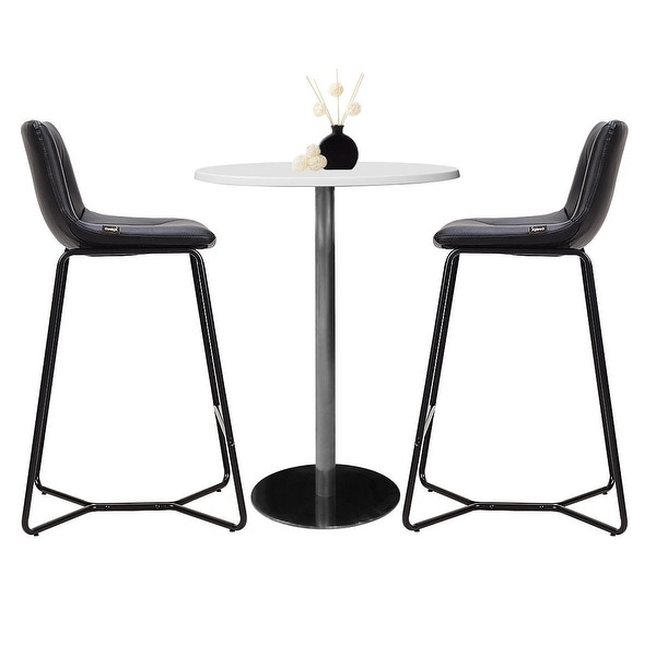 Set of 2 PU Leather Bar Stools Pub Chairs Counter Height  w// Metal Legs Black