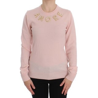 Dolce & Gabbana Pink Cashmere AMORE Pearls Gold Sweater