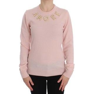Dolce & Gabbana Dolce & Gabbana Pink Cashmere AMORE Pearls Gold Sweater