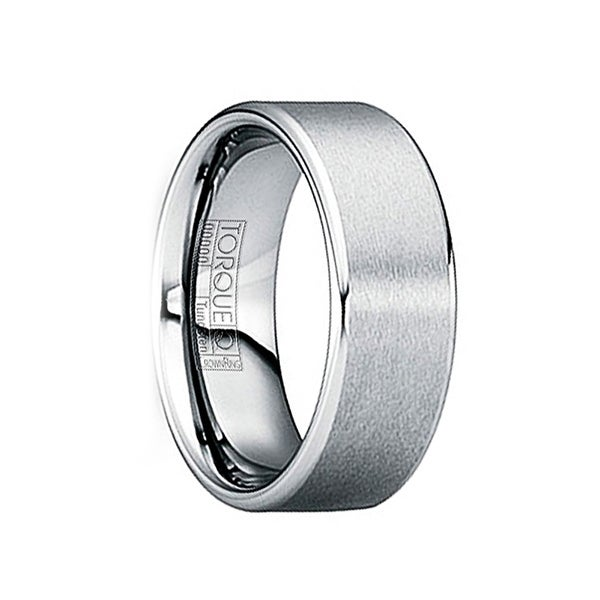 IOVIANUS Tungsten Carbide Wedding Band with Brushed Matte Center & Polished Edges by Crown Ring